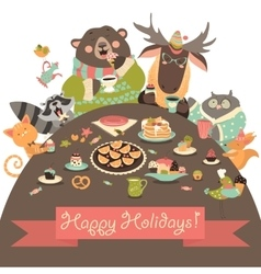 Cute animals celebrating holidays vector image