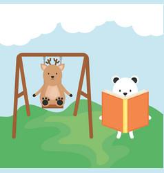 Cute reindeer in swing and bear reading vector
