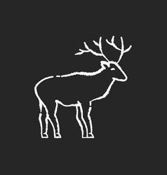 deer chalk white icon on black background vector image