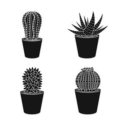 design of cactus and pot symbol set of vector image