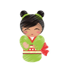 drawing japanese doll geisha folk image vector image