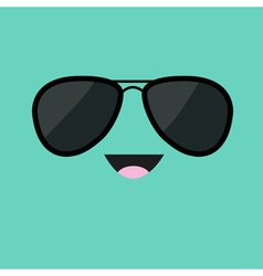 Face with black pilot sunglassess Happy emotion vector