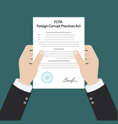 Fcpa foreign corrupt practices act law regulation vector