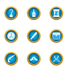 Filibuster icons set flat style vector