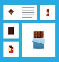 Flat icon cacao set of delicious bitter sweet vector