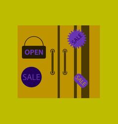 Flat icon of wardrobe sale discounts vector