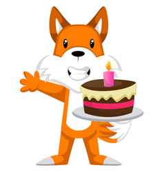 fox with cake on white background vector image