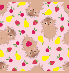 Funny seamless pattern with smiling hedgehogs vector