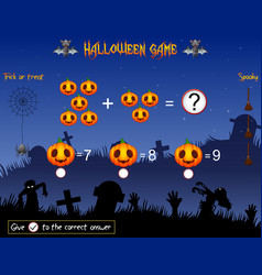 game count the pumpkins in the halloween theme vector image