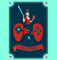 girl gamer poster video games vector image