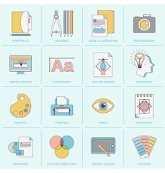 Graphic design icons flat line vector image