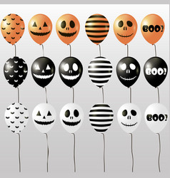 halloween balloons black orange and white colors vector image