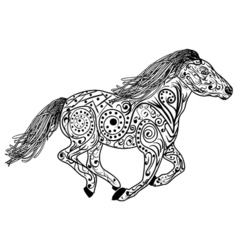 Hand drawn horse Isolated on white anti stress vector
