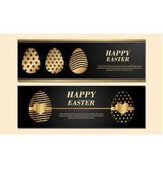 happy easter banner isolated on light black vector image