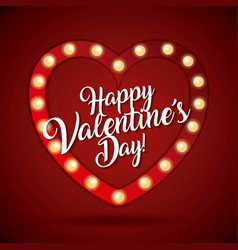 happy valentines day card heart light shiny vector image