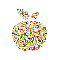healthy apple silhouette vector image