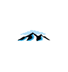 high icy mountains and cloud berge und wolken logo vector image