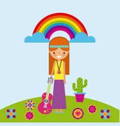 hippie scenery cartoon vector image