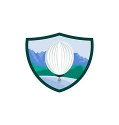 Hot Air Ballooning Sea Tree Mountains Crest Retro vector image