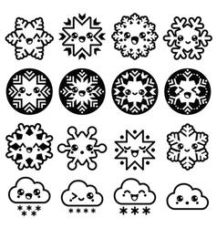 Kawaii snowflakes clouds with snow - Christmas vector image