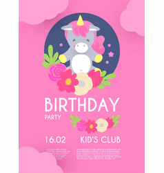 kid birthday flyer template cute unicorn with vector image