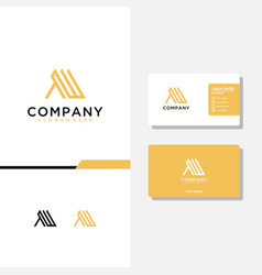 Letter aw logo design and business card template vector