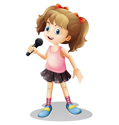 Little girl singing song vector