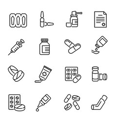 medical drugs medications linear icons set vector image