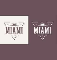 Miami florida textured vintage t-shirt and vector