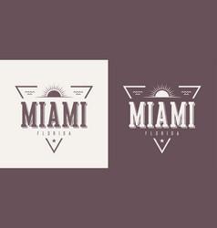 Miami florida textured vintage t-shirt vector