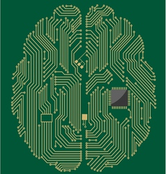 Motherboard brain on green background vector image