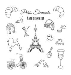 Paris hand drawn france elements vector