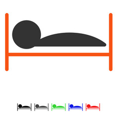 Patient bed flat icon vector