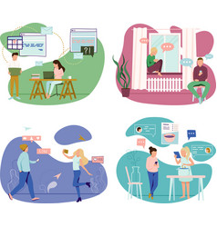 people and gadgets concept icons set vector image