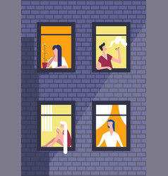 people in night windows in daily routine vector image