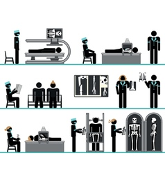 Pictogram set of radiology department vector