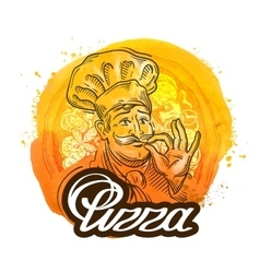 pizza restaurant logo design template chef vector image