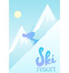 poster of a ski resort vector image
