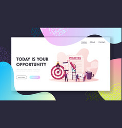 Priorities organize landing page template tiny vector