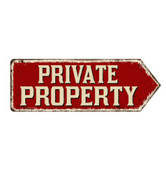 Private property vintage rusty metal sign vector