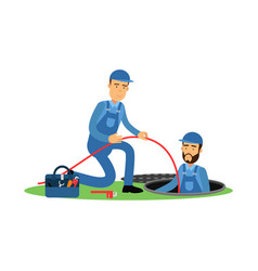Proffesional plumber characters working at sewer vector