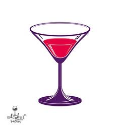 Realistic 3d martini glass alcohol theme vector