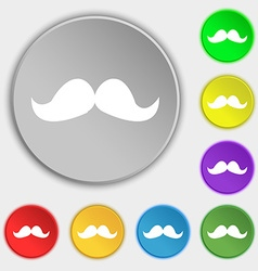 Retro moustache icon sign Symbol on eight flat vector