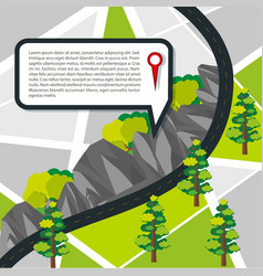 Road map with road and mountains vector