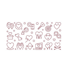 romantic friendship outline horizontal vector image