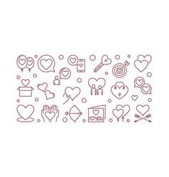 romantic friendship outline horizontal vector image