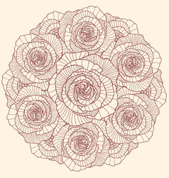 Round linear rose flowers composition vector