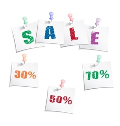 Sale tags with push pin vector image vector image
