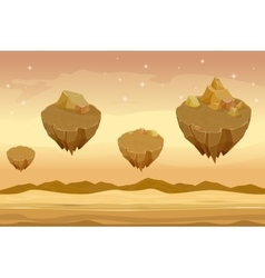 Seamless cartoon desert landscape sandy with vector