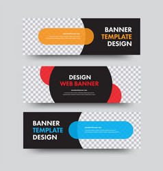 Set black horizontal web banners with a place vector